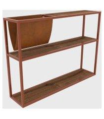 mesa lateral c/ revisteiro vermont/est. cobre artesano marrom
