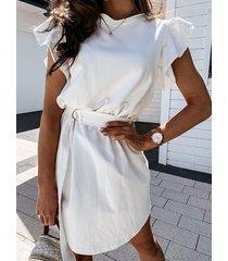 diseño de cuello redondo cinturón manga corta mini vestido