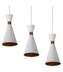 kit 3 lustres pendentes flórida de alumínio branco c/ cobre