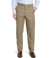 men's berle classic fit flat front microfiber performance trousers, size 31 - green