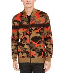 inc men's zip-front camo sweater, created for macy's
