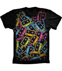 camiseta baby look lu geek fita k7 preto