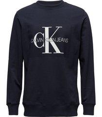 core monogram logo s sweat-shirt tröja svart calvin klein jeans