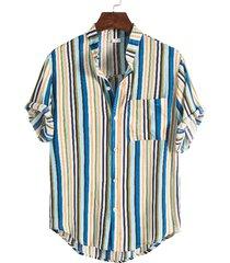 hombres verano casual algodón rayas hawaii playa vacaciones camisa