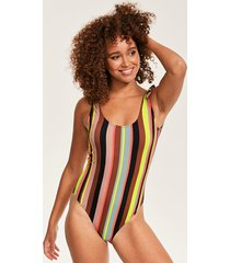 stripe tie shoulder one-piece swimsuit