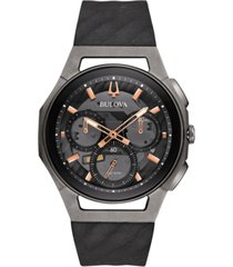 bulova men's chronograph curv black rubber strap watch 44mm 98a162
