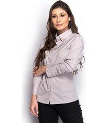 camisa camisete social feminina manga longa lisa casual - feminino