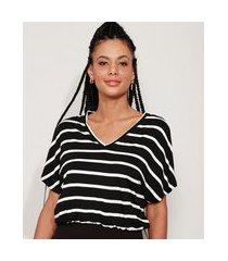 blusa feminina básica listrada manga curta decote v preta