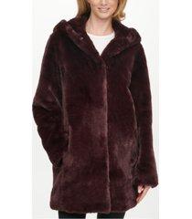 dkny petite hooded faux-fur coat