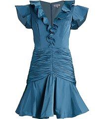 flor et. al women's dante ruffle crepe de chine mini dress - solid dust blue - size 6
