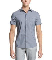 dkny men's performance stretch french placket square print short sleeve shirt
