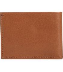men's shinola slim bifold leather wallet - brown