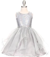 silver sparkling sequin bodice organza flower girl bridesmaid birthday dress