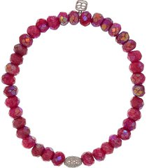 fuschia moonstone pave oval bead bracelet