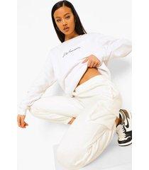 oversized geborduurd woman sweater met tekst, white