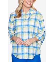 alfred dunner plus size two pocket three-quarter roll tab sleeve plaid woven shirt