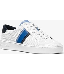 mk sneaker irving in pelle stampa serpente a righe - bianco ottico cangiante (bianco) - michael kors