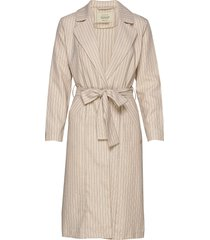 longer length pinstripe throw on jacket trenchcoat lange jas beige scotch & soda