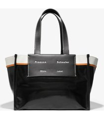 proenza schouler white label large morris coated canvas tote black one size
