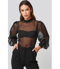 na-kd party high neck dobby blouse - black