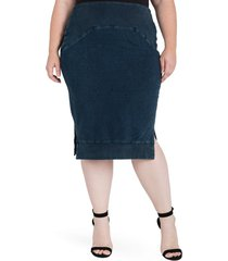 plus size women's standards & practices kelly side slit knit pencil skirt, size 1x - blue