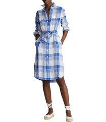 polo ralph lauren women's plaid linen shirtdress - blue white combo - size 6