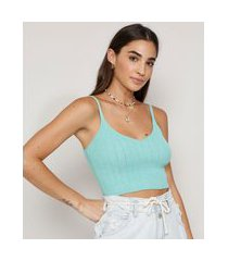 top cropped feminino de tricô canelado alça fina decote v verde claro