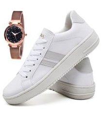 tênis sapatênis fashion com relógio gold feminino dubuy 022el branco