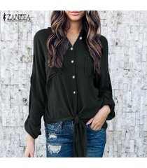 zanzea mujeres solapa del cuello botones en otoño de manga larga dobladillo asimétrico con cordones de la blusa de la oficina del trabajo sólido ocasional de la camisa s-5xl negro -negro
