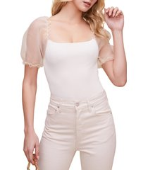 women's astr the label puff sleeve bodysuit, size large - white
