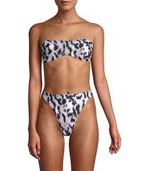 leopard-print strapless bikini top
