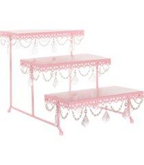amalfi anastasia 3-tier crystal-draped rectangular dessert stand