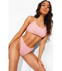 mix & match badstoffen bikini top met laag rond decolleté en reliëf, dusky pink