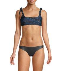 mikoh swimwear women's jamaica shoulder-tie bikini top - honu - size l