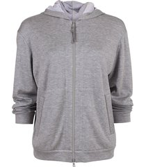 hooded zip-up spa jacket