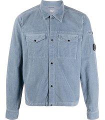 c.p. company corduroy goggle shirt - blue