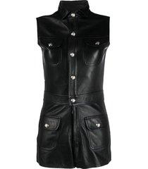 manokhi rita leather playsuit - black