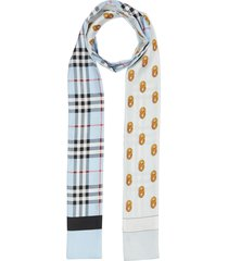 burberry vintage check and link print silk skinny scarf - blue