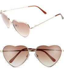 junior women's bp. heart shaped 58mm sunglasses - gold/ brown