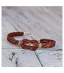 silver accent braided leather bracelet, 'square knot in russet' (thailand)