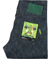 "naked and famous denim x rick & morty weird guy pickle rick ""solenya"" selvedege denim jeans | indigo | ram885803-wg"