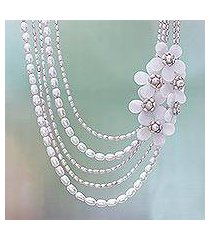 cultured pearl and rose quartz beaded strand necklace, 'luscious garlands' (thailand)