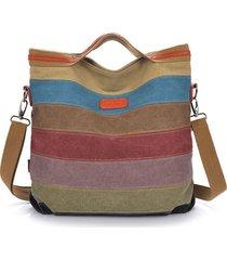 donna borsa a tracolla con manici in tela a righe a contrasto di colore
