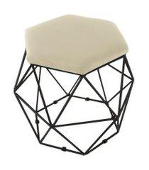 puff aramado preto assento hexagonal suede bege - ds móveis