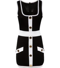 balmain button embellished sleeveless slim dress