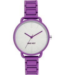 nine west women's purple rubberized bracelet watch, 36mm