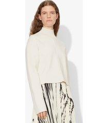 proenza schouler contour cropped mockneck compact knit pullover snow/white l