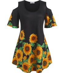 plus size sunflower print open shoulder long tunic tee