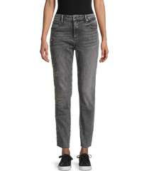 driftwood women's jackie floral embroidered jeans - grey - size 26 (2-4)