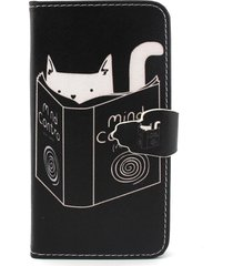 cat reading book flip wallet leatherette case shell for iphone 6 / 6s 4.7 inch